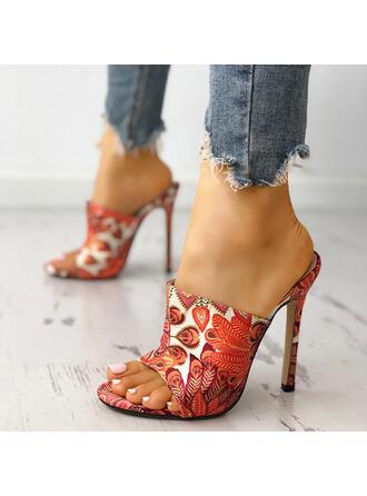 Women's PU Stiletto Heel Sandals Peep Toe Slippers shoes