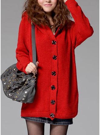 Cotton Spandex Hooded Plain Cardigan