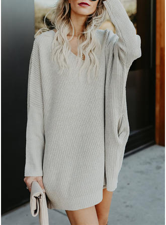 Plain Cable-knit V-neck Sweater Dress