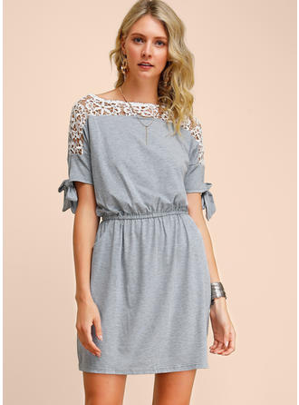 Lace/Solid Short Sleeves Sheath Above Knee Casual Dresses