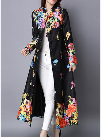 Cotton Long Sleeves Print Trench Coats
