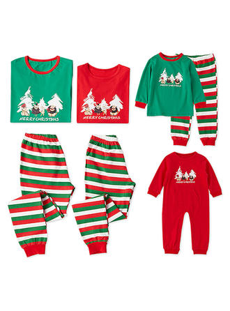 Striped Print Matching Family Christmas Pajamas