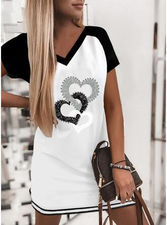 Print/Color Block/Heart Short Sleeves Shift Above Knee Casual T-shirt Dresses