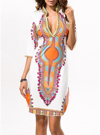 Print V-neck Knee Length Shift Dress