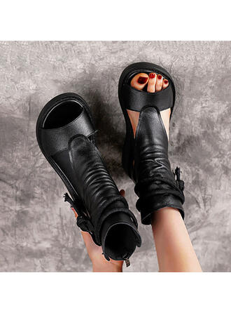 Frauen PU Keil Absatz Peep Toe High Top Round Toe mit Zuschnüren Schuhe