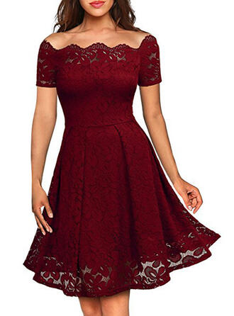 Lace/Solid Short Sleeves A-line Knee Length Vintage/Little Black/Party/Elegant Dresses