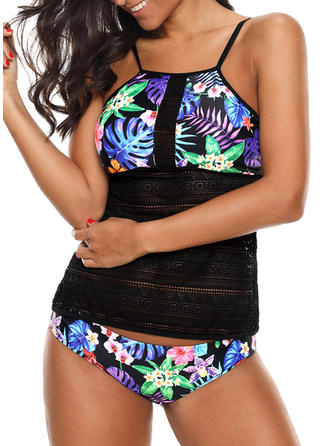 Tropical Print Strap Sexy Tankinis Swimsuits