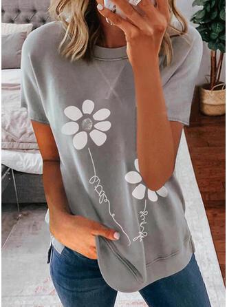 Figura Květinový Tisk Kulatý Výstřih Krátké rukávy Tricouri