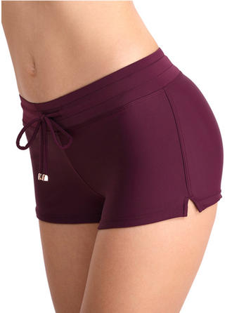 Solid Color Drawstring Strapless Sports Bottoms Swimsuits