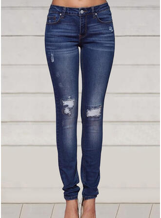 Plus Size Ripped Long Elegant Sexy Skinny Denim & Jeans