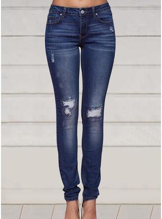 Taglia grossa Strappata Lungo Elegante Sexy Scheletrico Denim & Jeans