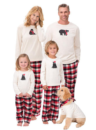 Bjørn Plaid Print Familie Matchende Jul Pyjamas