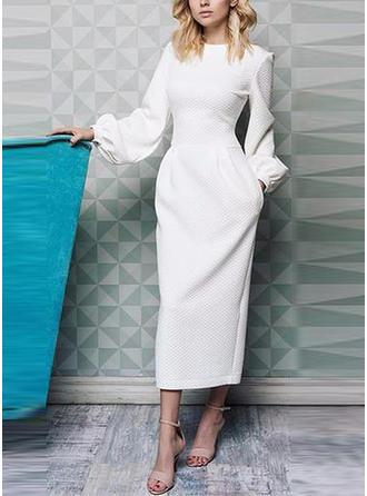 Rękawy Puff Etui Midi Imprezę/Elegancki Sukienki