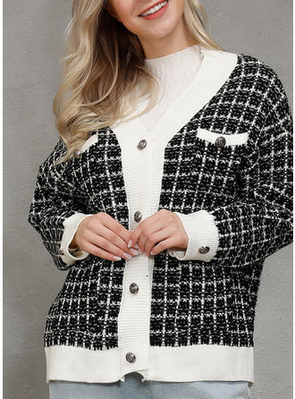 Polyester Long Sleeves Grid Cardigans