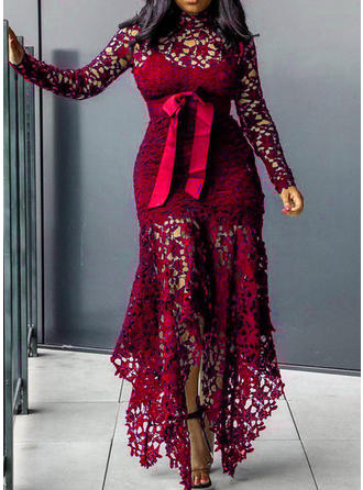 Lace Long Sleeves Sheath Maxi Casual Dresses