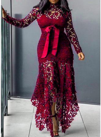 Koronka Długie rękawy Pokrowiec Maxi Casual Sukienki