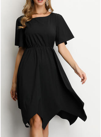 Solid Short Sleeves A-line Knee Length Little Black/Casual/Party/Elegant Dresses