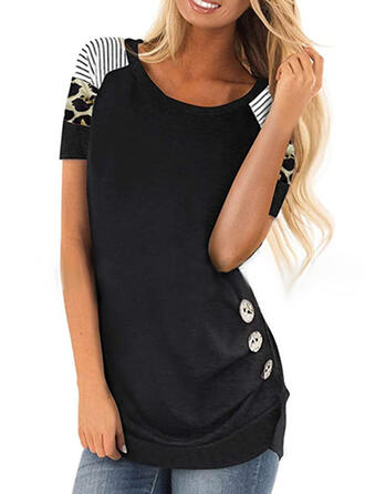 Patchwork Striped Leopard Round Neck Short Sleeves Casual Blouses