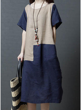 Color-block Short Sleeves Shift Midi Casual Dresses