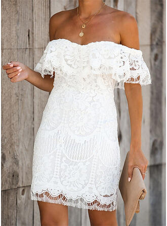Lace/Solid Short Sleeves Bodycon Above Knee Party/Elegant/Vacation Dresses