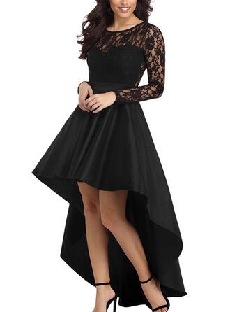 Lace/Solid Long Sleeves A-line Asymmetrical Little Black/Party Dresses