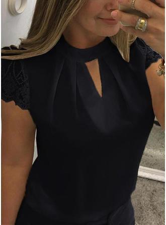 Bawełna Okrągły Dekolt Jednolity kolor Krótkie Rękawy Nieformalny Bluzki