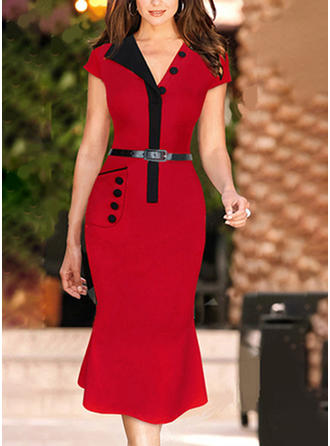 Color-block V-neck Midi Bodycon Dress