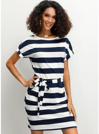 Striped Short Sleeves Sheath Maxi Casual Dresses