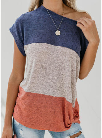 Color Block One Shoulder Short Sleeves Casual Blouses