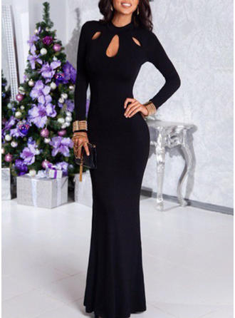 Solid Long Sleeves Sheath Maxi Little Black/Party Dresses