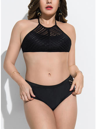Solid Color Strap Elegant Plus Size Bikinis Swimsuits