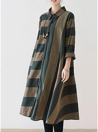 Striped Shirt collar Knee Length Shift Dress