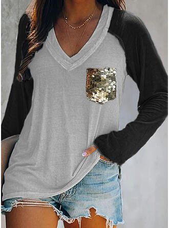 Color Block Sequins V-Neck Long Sleeves T-shirts