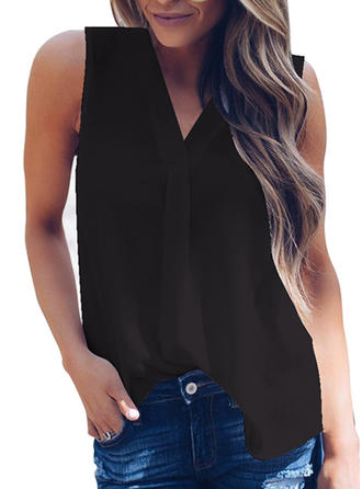 Solid V Neck Sleeveless Casual Shirt Blouses