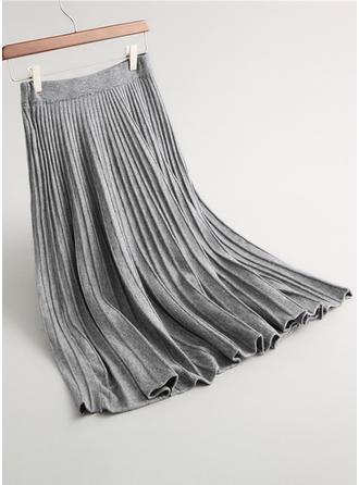 Tricotage Couleur unie Maxi Jupes plissées