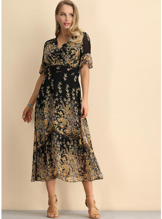 Print/Floral 1/2 Sleeves/Flare Sleeves A-line Midi Casual/Elegant/Vacation Dresses