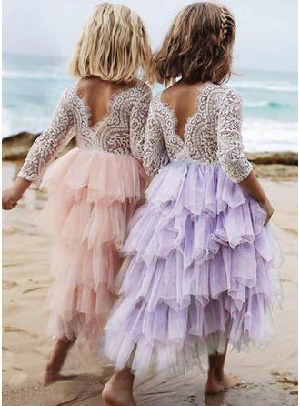 Dziewczyny Okrągły Dekolt Niejednolita całość Vintga Flower Girl Sukienka