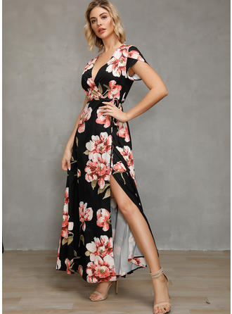 Print/Floral Short Sleeves A-line Maxi Casual/Boho/Vacation Dresses