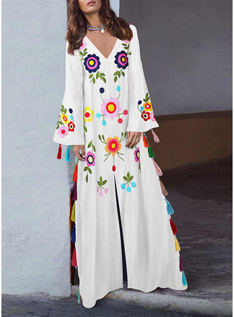 Print/Floral Long Sleeves Shift Maxi Casual Dresses