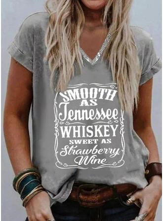 Print Letter Sequins V-Neck Short Sleeves T-shirts