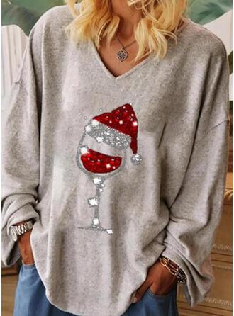 Drucken Pailletten V-Ausschnitt Lange Ärmel Weihnachten T-shirts