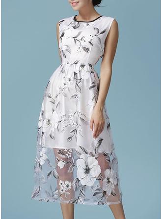 Polyester/Organza With Stitching Midi Dress