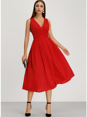 Solid Sleeveless A-line Knee Length Vintage/Party/Elegant Dresses