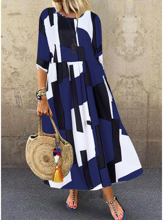 Color Block 3/4 Sleeves Shift Maxi Casual Dresses