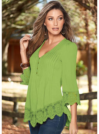 Plain V Neck 3/4 Sleeves Button Up Casual Blouses