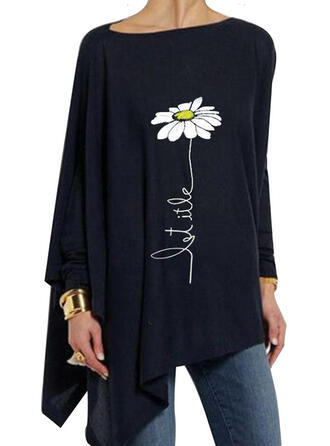 Print Floral Boat Neck Long Sleeves Casual Knit T-shirt