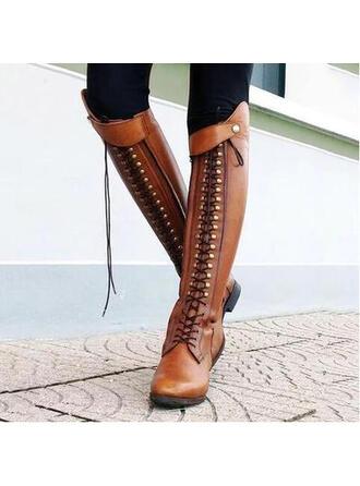 Frauen Kunstleder Niederiger Absatz Stiefel mit Niete Reißverschluss Schuhe