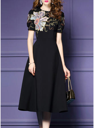 Embroidery Round Neck Knee Length A-line Dress