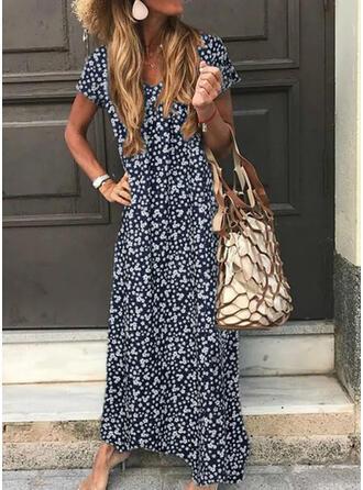 Nadrukowana Krótkie rękawy Koktajlowa Casual Maxi Sukienki