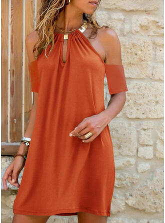 Solid Cold Shoulder Sleeve Shift Above Knee Casual/Vacation Dresses